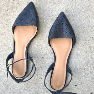 Old Navy Shoes - NAVY BLUE FLATS ankle wrap painted toe sandals 9